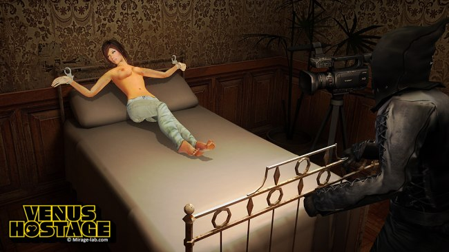 Fille chaude attachée au lit